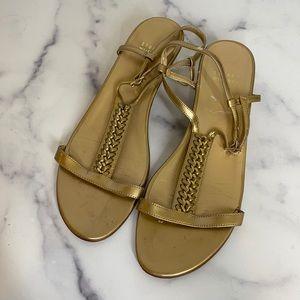 Stuart Weitzman gold wedge sandals size 8